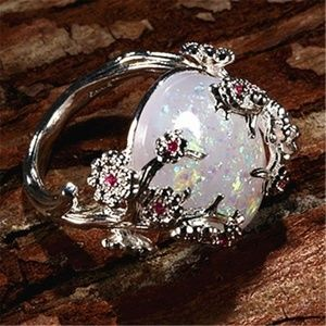 Jewelry - LAB-CREATED WHITE FIRE OPAL 925 STERLING SILVER